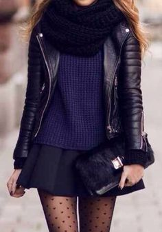 Bundled up in navy and black