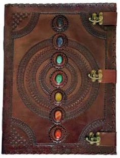 Buy 7 Stone Leather Journal w/ 3 Latches for your poems, prayers, dreams, sketches, recipes, spells or daily thoughts. Free shipping on domestic orders over $50!