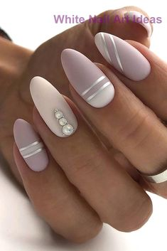 30 Perfect Pink And White Nails For Brides ❤ pink and white nails nude with silver stripes and pearls naturelle_nails We have collected temeless ideas of pink and white nails, which enchantingly complete the image of bride. Enjoy the ideas in our gallery! White Gel Nails, Rose Gold Nails, White Nail Art, Matte Nails, Acrylic Nails, Pointy Nails, Pink Nail Art, Bride Nails, Prom Nails