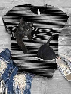 Cat Pattern Short Sleeve Striped Shirts & Blouses Shirts  $17.99 Patterned Shorts, Striped Shorts, Order T Shirts, Shirts Online, Shirt Bluse, Casual T Shirts, Trends, Types Of Sleeves, Cool Outfits