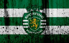 Download wallpapers FC Sporting, 4k, grunge, Primeira Liga, soccer, art, Portugal, Sporting, football club, stone texture, Sporting FC