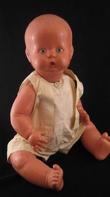 "Life Size 26"" Vintage Celluloid French Jointed Baby Doll w/ Sailor Outfit"
