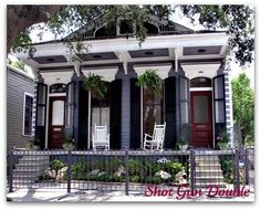 The Double Shotgun Home, A New Orleans Origional! The Shotgun Style of home originated in New Orleans beginning in the and extending to New Orleans Architecture, Southern Architecture, Creole Cottage, New Orleans Homes, Patio, Exterior Paint, Exterior Homes, Little Houses, Historic Homes