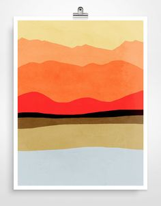 Abstract Mountains Large Wall Art Mid Century Modern by evesand