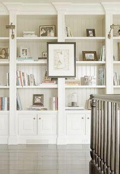 ship lap bookshelves/living room