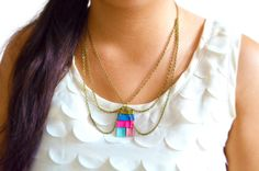 Neon Chain Collar Necklace Fringe Pendant Tassel and Chainmaille. $38.00, via Etsy.
