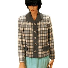 """""""Dorothy McNulty"""" Vintage Plaid Jacket Gray Wool S/M from MorningGlorious on Etsy"""