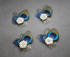 Peacock wedding hair accessories. Not my color scheme...but a really cute idea. Love the little curlies.