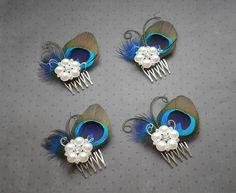 Peacock wedding hair accessories, Peacock feather fascinator, feather hair clip, peacock feather comb, bridesmaids - PRETTY PEACOCK. $28.00, via Etsy.