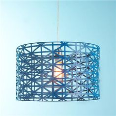 Comes in 2 diff blues - maybe for kitchen one day Check out Young House Love Metal Strap Drum Pendant from Shades of Light Room Lights, Hanging Lights, Ceiling Lights, Ceiling Canopy, Bedroom Ceiling, Young House Love, Hall Lighting, Pendant Lighting, Lighting Ideas