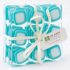 fused glass coasters aquamarine white glass par niknaksglass, $35,00