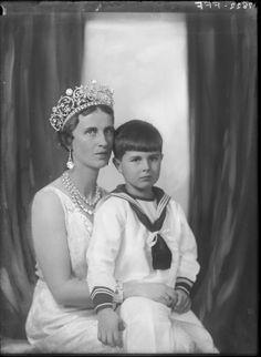 Princess Paul of Yugoslavia, neé Princess Olga of Greece and Denmark, with son, prince Nikola.