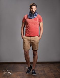 Scarf: Myconos T-Shirt: Alan Short Pants: Dylan  Discover Men's collection at www.staff-jeans.com/look-book-men/