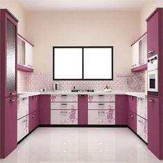 Purple Kitchen Designs, Kitchen Wall Design, Simple Kitchen Design, Kitchen Cupboard Designs, Beautiful Kitchen Designs, Interior Design Kitchen, Home Design, Kitchen Decor, Kitchen Cabinets