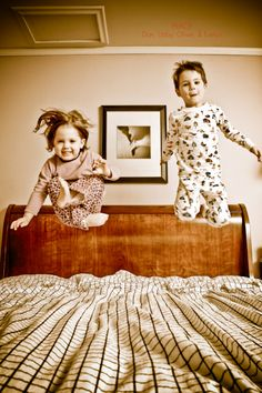 Jumping on the bed - always fun!
