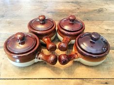 Set of 4 Vintage Larger Stoneware Covered French Onion Soup Bowls/Stoneware Handled and Covered Bowls/Vintage Stoneware Covered Bowls French Onion Soup Bowls, Dinner Wear, Hull Pottery, Days Before Christmas, Glass Candle Holders, Carnival Glass, Bowl Set, Stoneware, Eat
