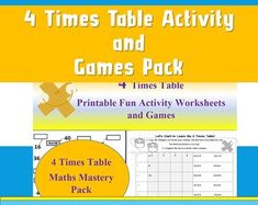 Maths Worksheets Multiplication Games Times Tables Kids by Ninalazina Multiplication Games, Math, 4 Times Table, Fun Activities, Worksheets, Homeschool, Printables, Kids, Etsy