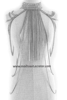 Body Chain Fringe Layered Armor Silver Chains Cage Avant Garde Jewelry Fashion Statement
