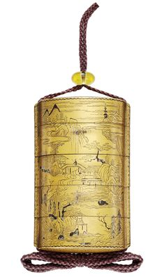 A FOUR-CASE LACQUER INRO EDO PERIOD (18TH CENTURY) Inlaid in mother-of-pearl against a kinji ground with a rural landscape depicting pavilions, trees, cliffs & bridges over water, the top & bottom with shippo hanabishi design, the interiors, risers & rims of kinji,