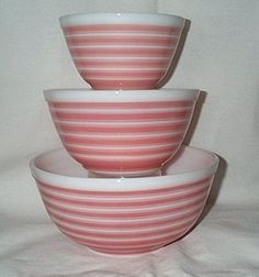 Vintage Pyrex Rainbow Stripe complete set in Pink  #401 is 1.5 quart #402 is 1.5 quart #403 is 2.5 quart ~B~