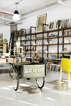 Scout House store, Melbourne - The Design Files Shelves are perfect Bar Design, Design Shop, Deco Cafe, Industrial Style Furniture, Industrial Shelving, Furniture Vintage, Rustic Industrial, Retail Shelving, Store Shelving