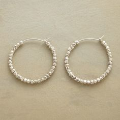 """BEAD BY BEAD HOOPS--Each and every sterling silver bead is hammered by hand and threaded onto our exclusive, self locking hoops. Earrings Handcrafted in USA. 1-1/8"""" dia."""