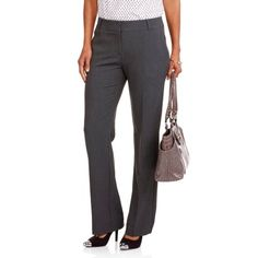 George Women's Career Suit Pants, New Updated Fit, Regular and Petite, Size: 4, Gray
