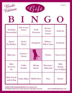 You could create a bingo card your self on the computer or purchase one at a store, it was really fun to play at the shower.