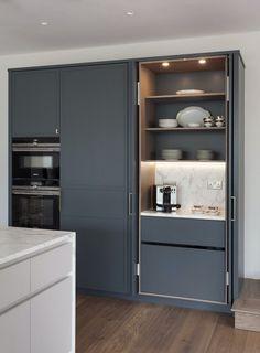 Kitchen Larder Cupboard, Modern Kitchen Cupboards, Small Kitchen Pantry, Kitchen Pantry Design, Kitchen Cabinet Styles, Cupboard Design, Modern Kitchen Design, Interior Design Kitchen, Kitchen Decor