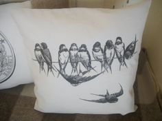 Swallows on a Wire Rustic Natural Fabric by RusticCountryCrafts, $18.00