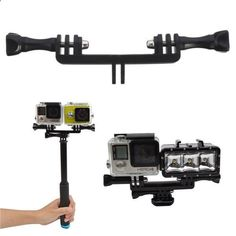 Handle Grip Monopod Mount Adapter For Gopro Xiaomi Yi Sjcam Double Sport Camera Holder. Double Dual Sport Camera Holder Handle Grip Monopod Mount Adapter For Gopro Hero 2 3 3 Plus 4 Xiaomi Yi SJ4000 SJ5000 SJcam Features: Can mount two sport cameras on the end of your pole and have one face forward and one back to record immersive footage simultaneously You can also put a fill in light and a sport camera together, helping you take immersive photos in the dark Equipped with two long scr...