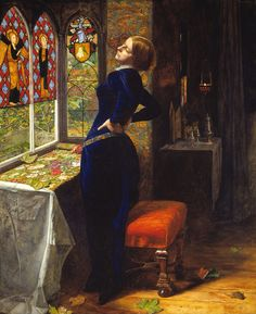 Sir John Everett Millais - Mariana | When it was first exhibited at the Royal Academy in 1851 this picture was accompanied by the following lines from Tennyson's Mariana (1830):  She only said, 'My life is dreary,  He cometh not,' she said; She said, 'I am aweary, aweary,  I would that I were dead!'  Tennyson's poem was inspired by the character of Mariana in Shakespeare's Measure for Measure.