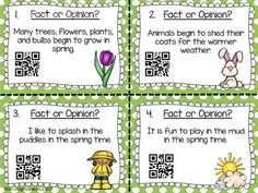 This is great for teaching about Fact and Opinion. It's spring themed and has QR codes for students to self check their work!