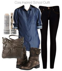 Theory long sleeve blouse / Ted Baker faded black jeans / Dirty Laundry boots / Mossimo brown shoulder bag / Korres lip treatment, $13