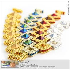 Love this...looks like cubic right angle weave with the little fat pyramid beads :)