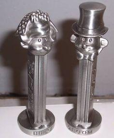 Vintage Pewter Pez Bride & Groom