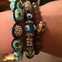 Arm candy bundle Cute skull bracelets. Can be worn with about any outfit  make cute accessories #accessorizing #armcandy Jewelry