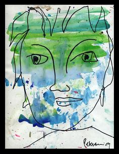 Green Eyes On A Blue Face Painting  - Green Eyes On A Blue Face Fine Art Print