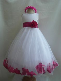 White Fuchsia Hot Pink Princess Flower Girl Dress 6 12 18 24 MO 2 4 6 8 10 12 14   eBay