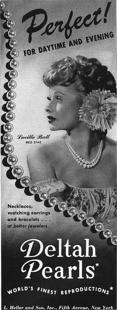 1940's Deltah Pearls Ad Featuring Lucy