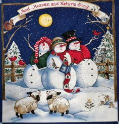 Christmas Heaven Nature Sing Fabric Panel New Christmas In Heaven, Cute Christmas Tree, Christmas Snowman, Winter Christmas, Christmas Ornaments, Snowman Photos, Snowmen Pictures, Christmas Fabric Panels, Frosty The Snowmen