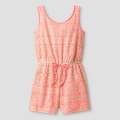 Girls' Lilt Sleeveless All-over Crochet Romper with Coral Lining - Coral/Ivory M(7/8), Size: M (7-8), Pink