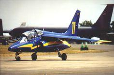 Belgian Air Force Dassault Breguet Alpha Jet trainer. Taken at RAF Fairford IAT 1999 on departure day.