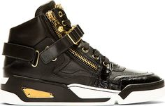 Buffed leather high-top sneakers in black. Gold-tone hardware. Round toe. Tonal lace-up closure. 3D medusa appliqué at tongue. Zip closure at eyerow. Foldover velcro straps at vamp and heel. Woven chain detail at vamp. Panelling with crosshatch finish at sides in heel. Tonal croc-embossed trim at sides and toe wrap. Black and white rubber sole. Metal accent plaque at sole. Tonal stitching.