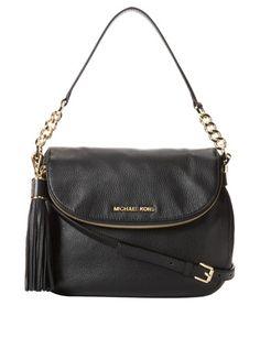 Michael Kors Bedford Tassel Medium Convertible Leather Shoulder Bag, Black ($298)