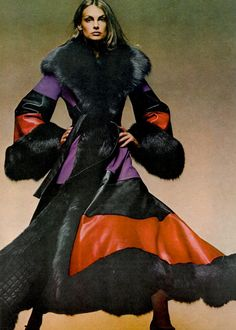 Jean Shrimpton by David Bailey for Vogue, 1971.Amazing MAXI coat. 1970s fashion