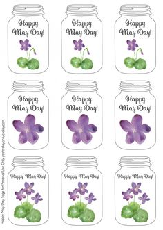 Mason Jar themed printable May Day Art tags Spring Crafts, Holiday Crafts, Holiday Ideas, Mothers Day Crafts, Crafts For Kids, Fun Crafts, Mason Jar Gifts, Mason Jars, May Day Baskets