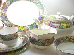 Rare Antique 1920's Star Paragon Tea Set , 22 pieces Teapot set, English tea set, Star Paragon 1920's, Oval plates, Springtime