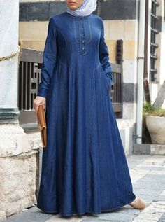 Denim Afiya Abaya Denim Abaya, Arabic Dress, Hijab Outfit, Hijab Dress, Overall Dress, Islamic Clothing, Coat Dress, Linen Dresses, Hijab Fashion
