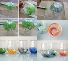 Add a Pop of Color to Your Cups of Glass ! Each of these glasses took 5 minutes or less – all you need is a few paint pens Diy Projects To Try, Crafts To Do, Craft Projects, Arts And Crafts, Craft Ideas, Fun Ideas, Do It Yourself Wedding, Painted Wine Glasses, Dremel
